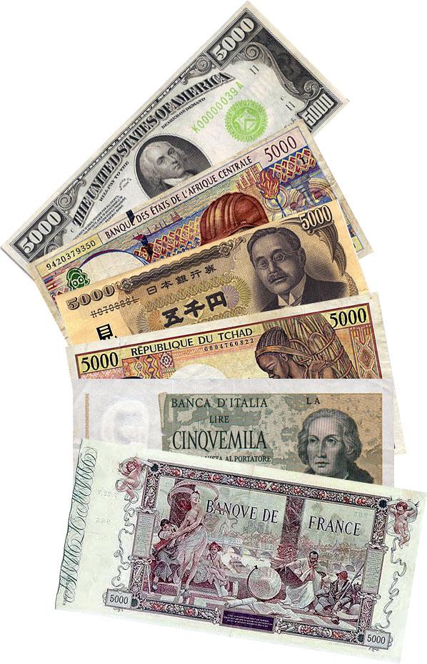Diferite bancnote de 5000