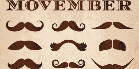 movember mustache grunge icon set